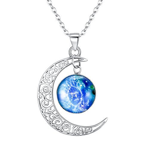 Clearine 925 Sterling Silver Horoscope Zodiac Astrology Constellation Crescent Moon Glass Coin Pendant Necklace, Leo Necklace for Women Girl