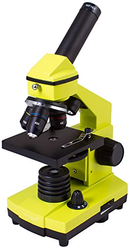 Levenhuk Rainbow 2L Plus Lime Metal Student Microscope (64-640x) with Experiment Kit for Indoor and Outdoor Use