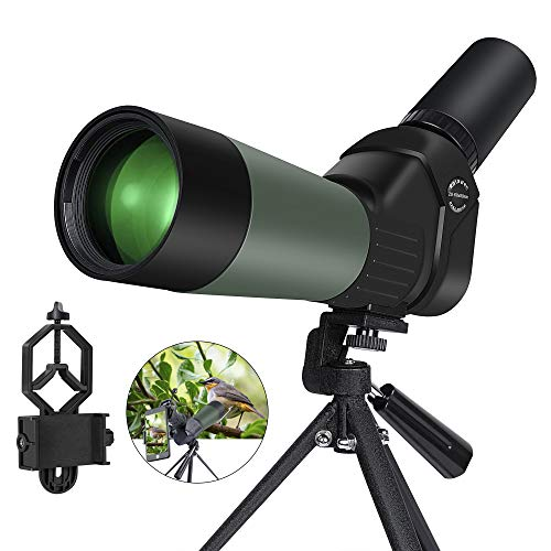 Kalawen Spektiv 20-60x60 High Power mit Stativ BAK4 Prisma voll Multi-Coated Optik 45Grad abgewinkelt Okular mit Handy Adapter für Vogelbeobachtung Sportschützen