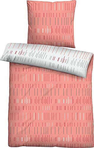 biberna 0024229 Soft-Seersucker Bettwäsche Garnitur mit Kopfkissenbezug (Baumwolle) 1x 135x200 cm + 1x 80x80 cm, Chili