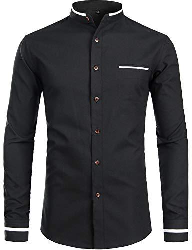 ZEROYAA Mens Hipster Mandarin Collar Slim Fit Long Sleeve Casual Button Down Oxford Dress Shirt with Pocket Z113 Black Large