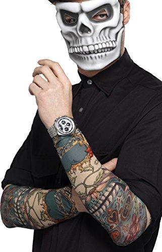 Smiffys Manga de tatuaje del día de muertos, Varios colores, Paquete de dos, Multicolor, Tamaño único (44225)