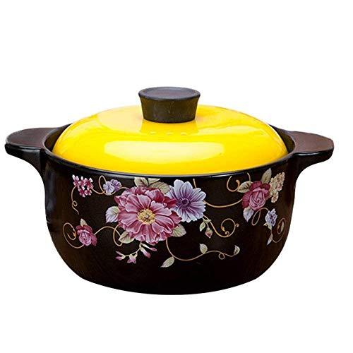 Olla de cazuela Olla de estofado Cazuela de cerámica - Durable Buen Efecto de Aislamiento Material Duro Fácil de Limpiar - Capacidad de 4 litros y Utensilios de Cocina