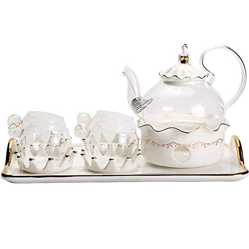 Tea Set European Afternoon Tea Set Porcelain Flower Tea Cup Set With Candle Warmer Ceramic Tea Sets (Color : White, Size : 11pcs)