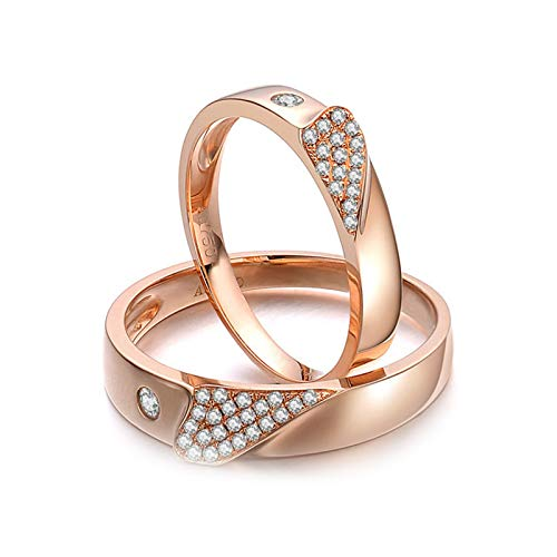 Daesar 18K Rose Gold Engagement Rings for Him and Her Anniversary Rings for Couple Puzzle Heart 0.17ct Wedding Ring Set Diamond Rose Gold Ring Women Size N 1/2 & Men Size X 1/2