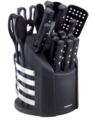Farberware 17-Piece Stainless Steel Knife and Kitchen Tool Set with Storage Carousel, Black