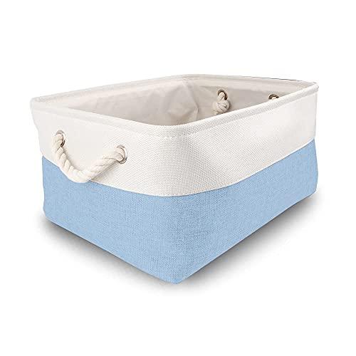 MANGATA Cajas de almacenamiento grandes, cestas de almacenamiento de tela con asas de cuerda para armarios, estantes, armario, juguetes, ropa (plegable, azul y gris blanco)