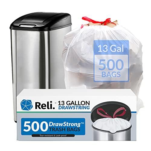 Reli. Tall Kitchen Drawstring Trash Bags 13 Gallon | 500 Count Bulk | Kitchen Garbage Bags | White | 13 Gallon - 16 Gallon Capacity