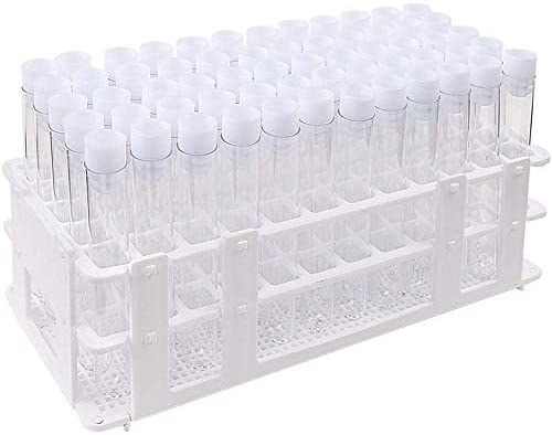 DEPEPE 60pcs Clear Plastic Test Tubes with Caps and Rack 16 x 100mm for Scientific Experiments product image