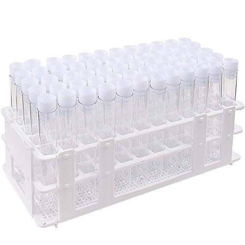 DEPEPE 60pcs Clear Plastic Test Tubes with Caps and Rack, 16 x 100mm, for Scientific Experiments, Beads Liquid Storage Containers, Scientific Theme Party Decorations