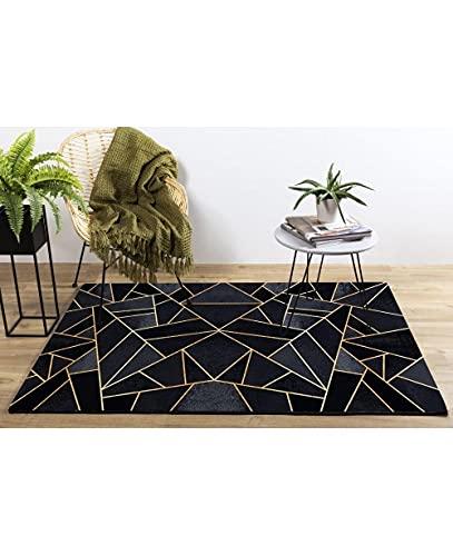 Mani Textile - Tapis Grafic Noir Doré Dimensions - 120x180