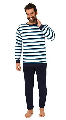 Edler Herren Frottee Pyjama Schlafanzug mit Bündchen in Streifenoptik - 291 101 13 788, Größe2:58, Farbe:türkis
