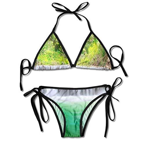 Cascada en los árboles del Bosque Tropical Conjuntos de Bikini para Mujer con Estampado Negro, Traje de baño Triangular Traje de baño de Playa