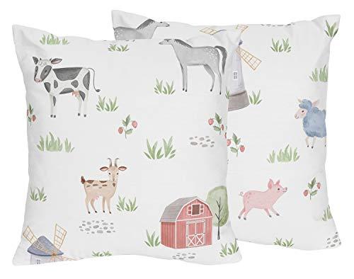 Sweet Jojo Designs Farm Animals Decorative Accent Throw Pillows - Set of 2 - Watercolor Farmhouse Horse Cow Sheep Pig
