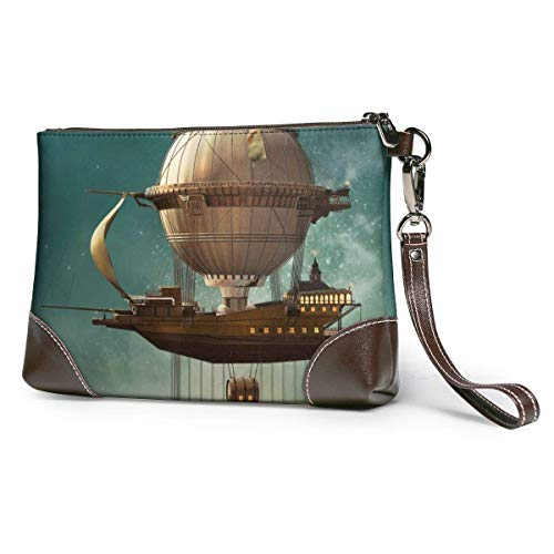 Portamonete Women's Leather Wristlet Clutch Wallet Steampunk Airship Fairy Stardust Space Purse Phone Handbags Card For Travel Party Wedding Shopping