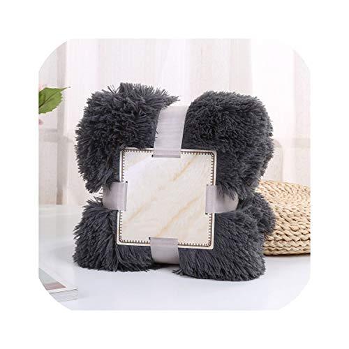 dudifeng Lange Zotteldecke Bettlaken Bettlaken Große Größe warm weich dick flauschig Sofa Sherpa Decken Kissenbezug, dunkelgrau, 130x160cm