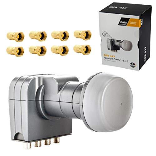 Fuba DEK 417 Quad LNB 4K HDTV UHD mit einem integriertem Quattro Switch für den Direktanschluss von 4 Teilnehmer Receiver mit 8X F-Stecker
