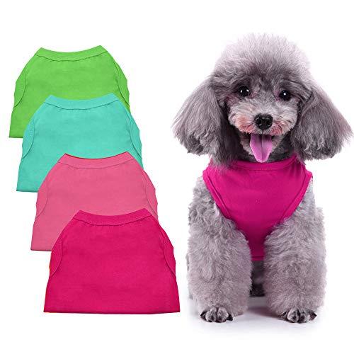 Chol & Vivi Hemd für Hunde, einfarbig, weich und dünn, 4 Stück, blanko, Kleidung für XS, M, L, XL, 32