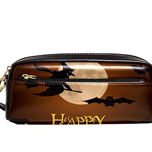 Estuche para lápices Happy Halloween y luna llena de calabaza, gran capacidad, organizador para bolígrafos, para la escuela, adolescentes, niños, niñas, hombres y mujeres