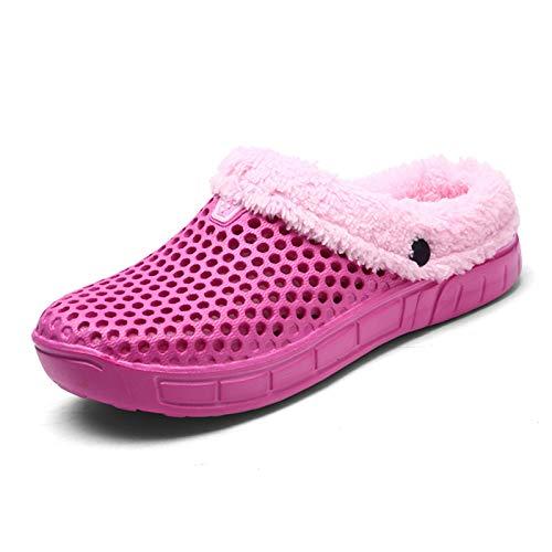 DALLL Pantuflas de invierno para hombre y mujer, cómodas pantuflas para exteriores, impermeables, dos materiales cálidos, color rosa, 7