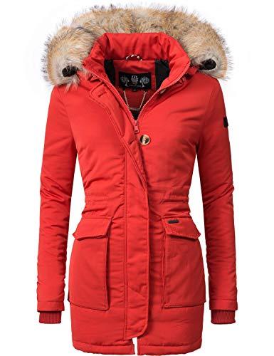 Navahoo Damen Winter-Jacke Winter-Mantel Schneeengel (vegan hergestellt) Rot Gr. M