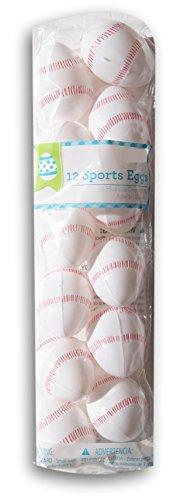 12 Baseball Plastic Easter Eggs, 2 1/2' X 1 3/4'