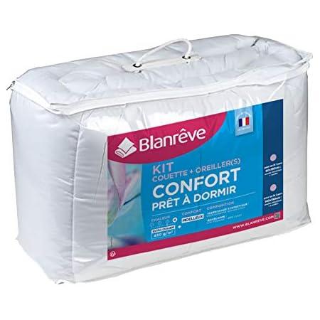 blanrêve Prêt à Dormir kit Couette et oreillers, Coton, Blanc, 240x220