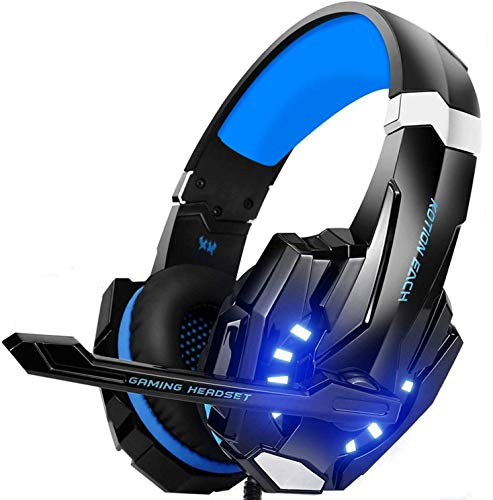 Auriculares Gaming PS4, Galopar Cascos Gaming, Premium Stereo con Microfono Gaming Headset con 3.5mm Jack para PC/Xbox One/Switch - con Gancho y 2 x Cable de Extension-Azul