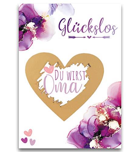 JoliCoon Rubbelkarte Du wirst Oma - Schwangerschaft verkünden mit Rubbellos