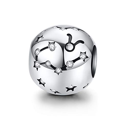 LaMenars Zodiac Star Sign 925 Sterling Silver Bead Charm Fits European Charm Bracelets & Necklaces (Taurus(4.20-5.20))