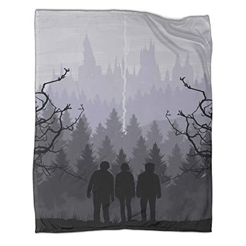 MRFSY Aire acondicionado de verano súper suave felpa Harry Potter y The Death World All Gather Cama de dormitorio cuna de viaje picnic 70 x 90 pulgadas (180 x 230 cm)