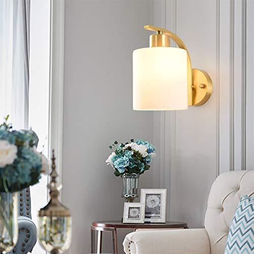 Witte Glazen Lampenkap Volledig Koperen Basis LED-wandlamp, Moderne Creatieve E27 Warm Licht, Geschikt Voor Slaapkamer, Nachtkastje, Woonkamer, Gang (20 * 14cm)