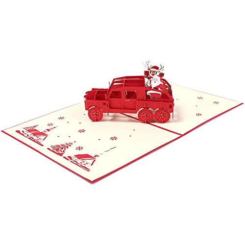 Aruie 3D-Grußkarte aus Papier, bedruckt, gefaltet, für Auto, rotes Fahrzeug, Weihnachtsmann, Weihnachtsbaum, Hirsch, Party, Segen, kreatives Geschenk zu Weihnachten