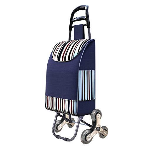 Haobase - Carrello per la spesa con telaio pieghevole in acciaio, impermeabile (blu)