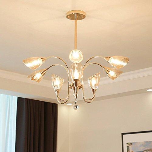 NZDY Lumière intérieure moderne en fer forgé Style de jardin lustre plafonnier salon chambre salle à manger lampe éclairage,9 têtes dorées