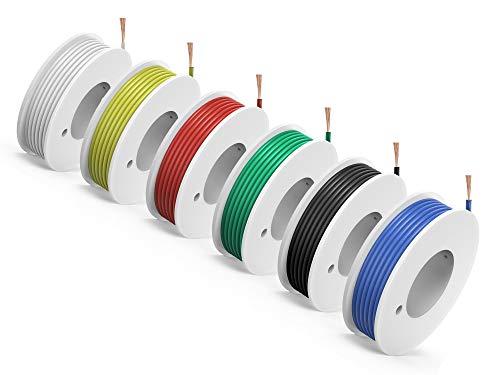 NorthPada 20 AWG 0,5mm² Elektronik Elektrische Draht Kit Litzen PVC Sauerstofffrei Kupfer Kabel 6 Farbe Spule Niederspannung 6 x 6,8 Meter