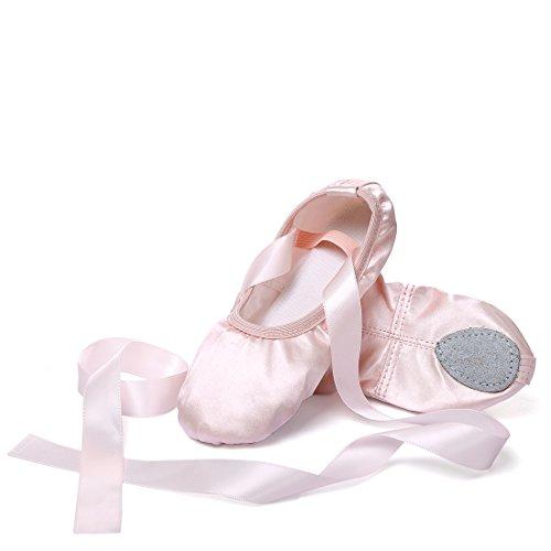 Ballettschuhe Mädchen Tanzschuhe ballettschläppchen Damen bequem Spitzenschuhe mit Band Rosa 30