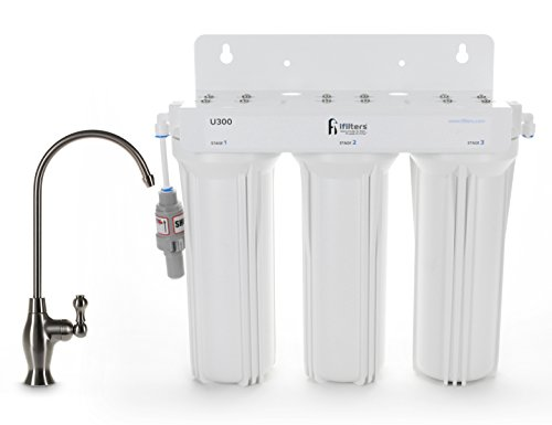 U300 3 Stage Under Sink Drinking Water Filtration System, Tankless Technology, High Capacity Filters, Designer Faucet