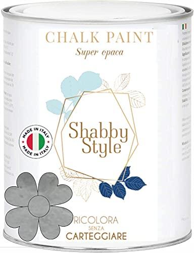 SHABBY STYLE CHALK PAINT Pittura Shabby Chic Vintage Mobili Pareti Altro Extra Opaca 40COLORI (2,5 Litri, VERNICE ARGENTO)