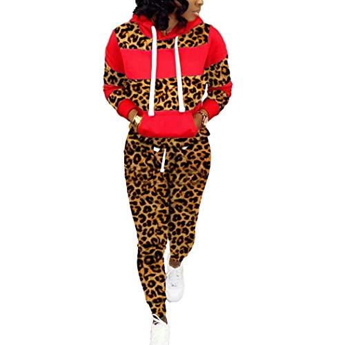 HANMAX Damen Leopard Trainingsanzug Frauen Lange Ärmel Top + Lange Hose Sportswear 2 Stück Set Sport Yoga Outfit