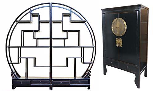 OPIUM OUTLET Conjunto de muebles de salón, estantería redonda asiática con armario de boda chino, divisor de habitaciones, estantería de pared, armario alto, estilo oriental, vintage, color negro