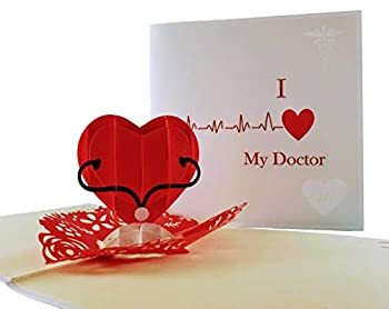 iGifts And Cards Unique I Heart My Doctor 3D Pop Up Greeting Card – Thank You Happy Birthday Appreciation Congrats Half-Fold Love Funny Best Medical Healthcare Hospital Wonderful Special
