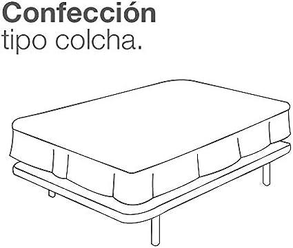ESTELA - Cubrecanapé Hilo Tintado RÚSTICO Color Blanco óptico - Cama de 105 - Alto 35 cm - Tipo Colcha - 50% algodón / 50% poliéster - Medidas: 105 x ...
