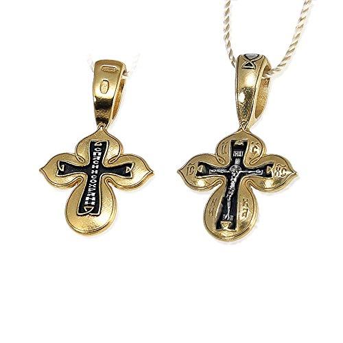 NKlaus Vergoldete Silber Kruzifix Kreuz 925 Sterling Anhänger Orthodox russisch 4535 Taufe