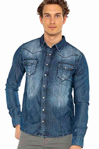 Cipo & Baxx Herren Jeanshemd Denim Hemd Shirt Klassisch Design CH165 Blau XXL
