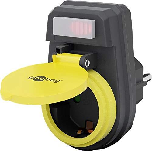 Goobay 41266 Schutzkontaktsteckdose, IP 44 spritzwassergeschützt, 1-Fach Schutzkontakt-Steckdosenadapter mit Schutzkappe und beleuchteten Schalter für den Außenbereich geeignet