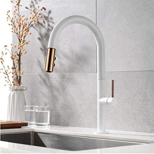 XYSQWZ Pull Out Kitchen Faucet Newly Arrived Rose Gold and Black Sink Mixer Tap 360 Degree Rotation Kitchen Mixer taps Kitchen TapBlack and Rose Gold
