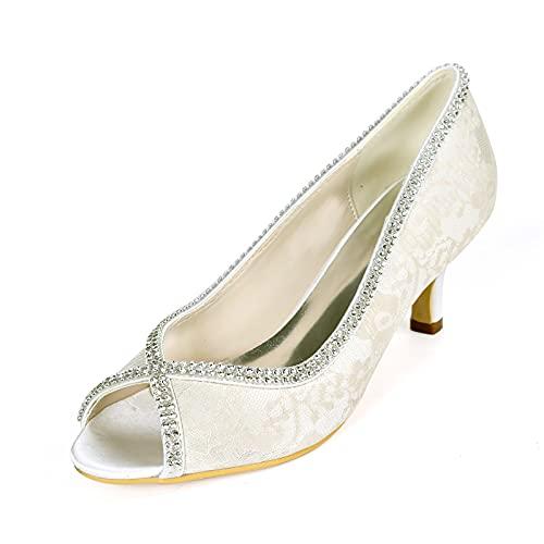 AQTEC Zapatos de Boda para Mujer Verano Elegante Punta Abierta Diamante Satén...