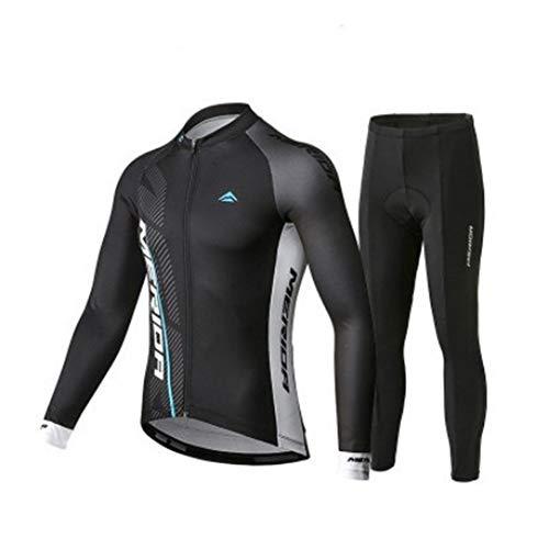 N/V D.Stil Herren Fahrradbekleidung Set Radtrikot Langarm Fleece mit 3D Polster Hosen für MTB Rennrad M-3XL (Blau, M)
