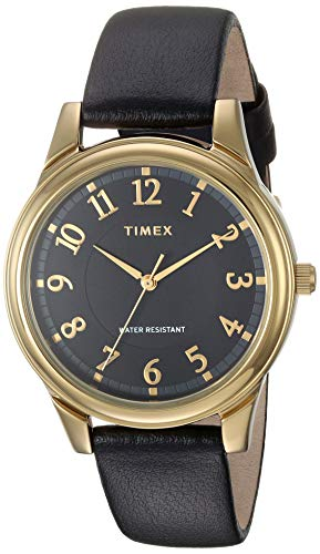 Timex Women's TW2R87100 Basics 36mm Black/Gold-Tone Leather Strap Watch